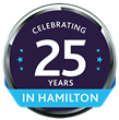 Celebrating 25 Years in Hamilton badge