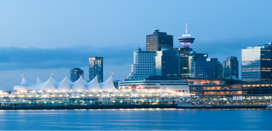 downtown vancouver skyline with Canada Place during sunrise