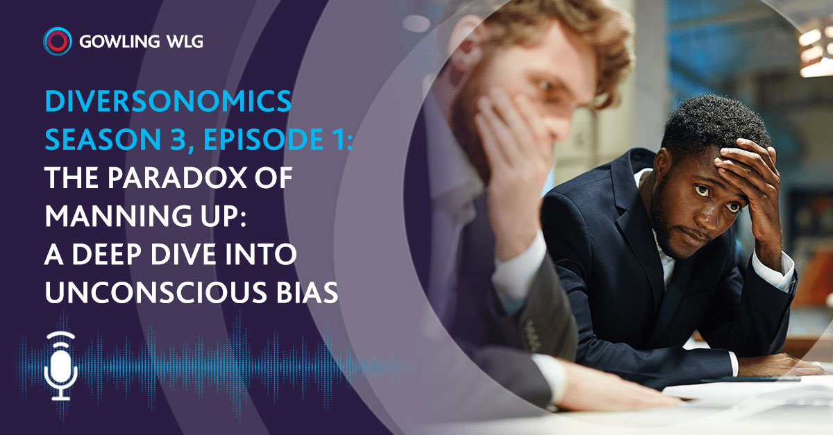 Diversonomics Podcast - The Paradox of Manning up - two men sitting at desk watching computer screen