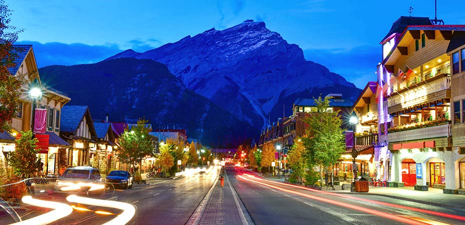 nighttime view of shopping street in Banff AB