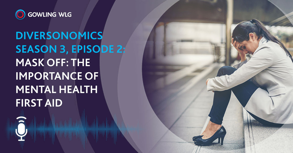 Diversonomics podcast series  about mental health  - picture shows woman sitting on steps looking stressed, her head against her knees.